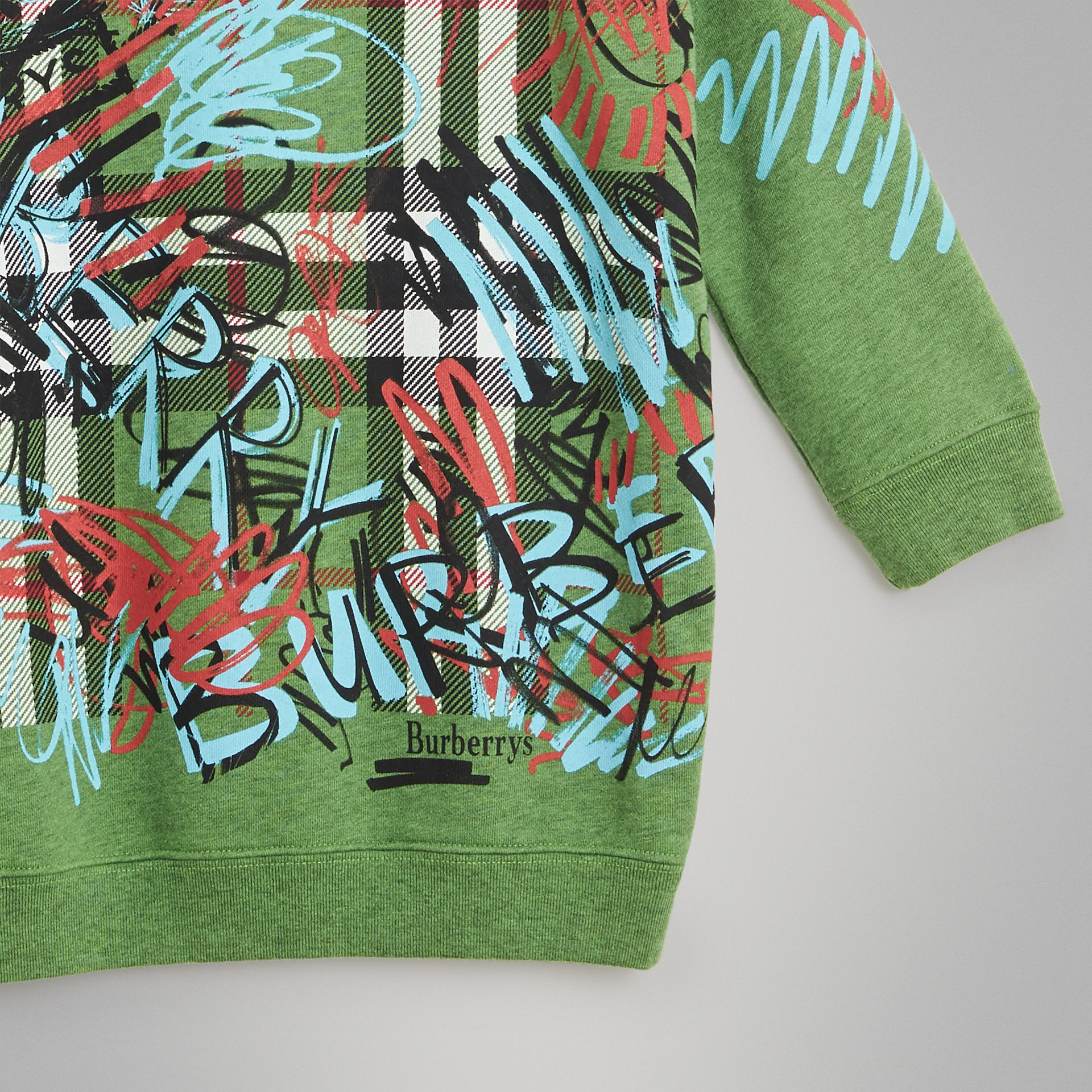 Graffiti Scribble Check Print Cotton Dress in Lime Green - Girl | Burberry - gallery image 4
