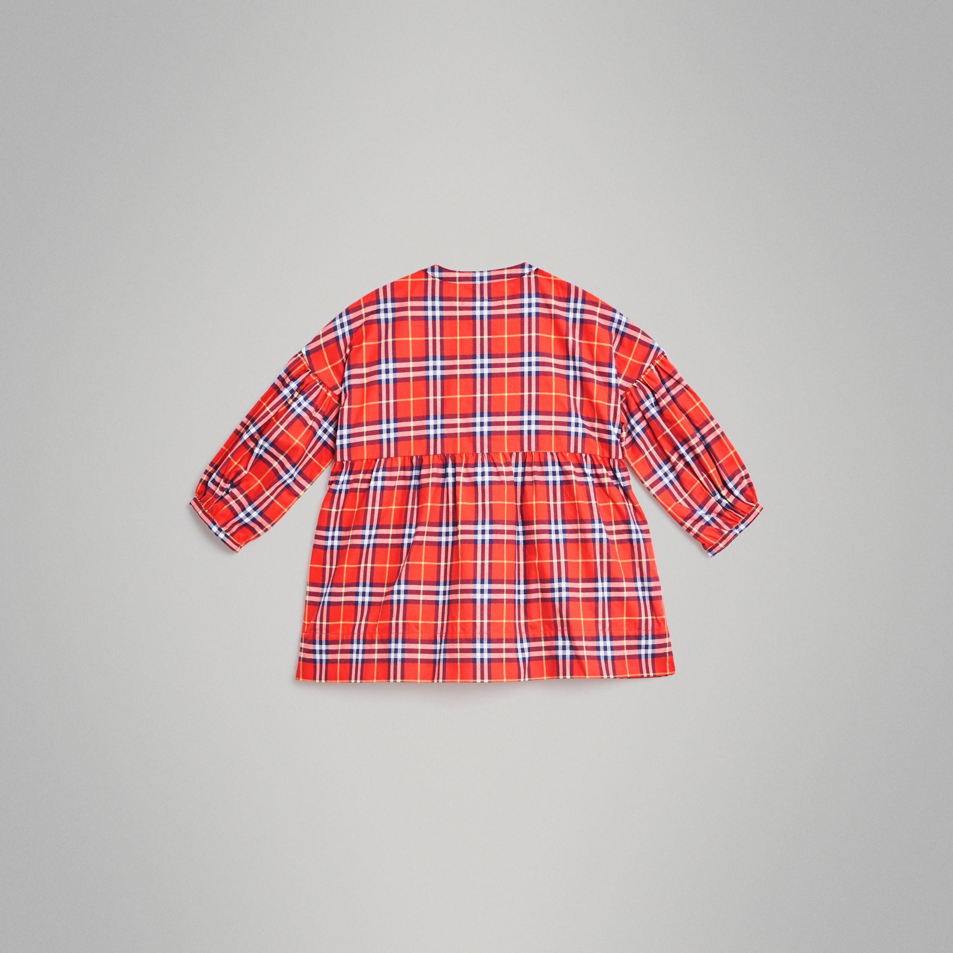 Check Cotton Flannel Dress in Orange Red | Burberry - gallery image 3