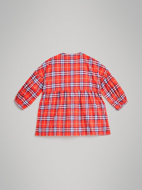 Check Cotton Flannel Dress in Orange Red | Burberry - cell image 3