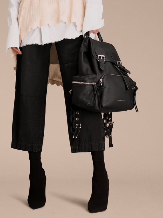 The Medium Rucksack in Deerskin with Resin Chain in Black - cell image 2