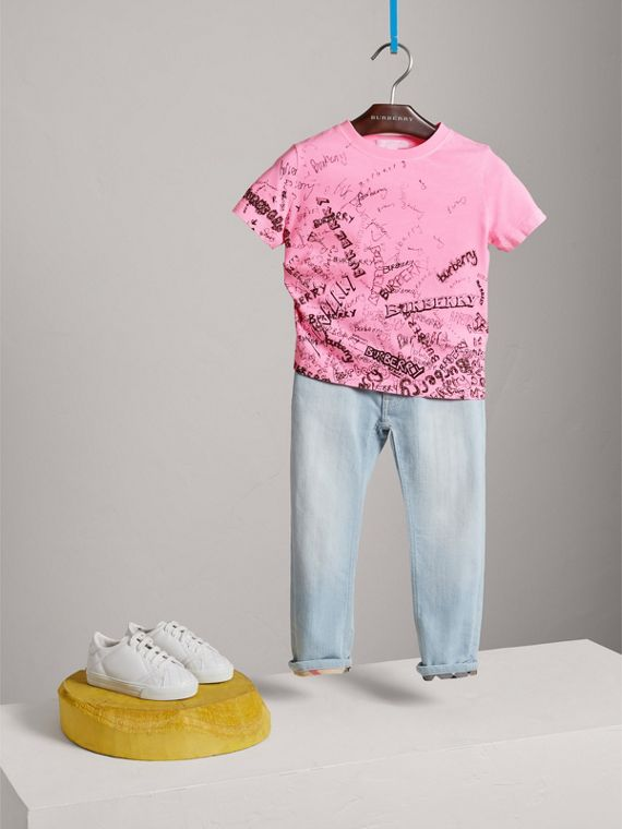 Doodle Print Cotton Jersey T-shirt in Bright Rose - Girl | Burberry - cell image 2