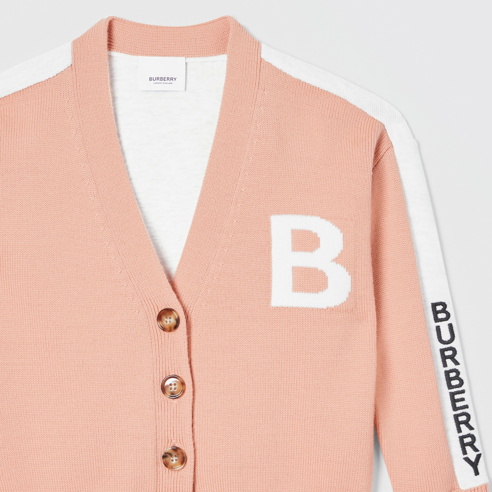 B Motif Merino Wool Jacquard Cardigan in Peach - Girl | Burberry - gallery image 4