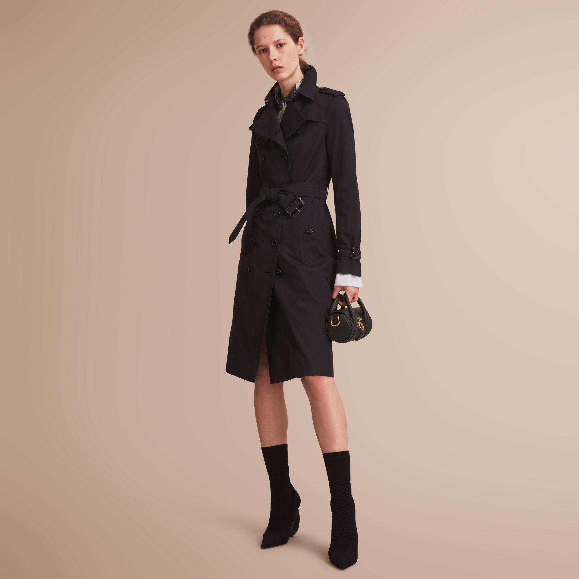 The Sandringham – Extra-long Heritage Trench Coat in Black - gallery image 1