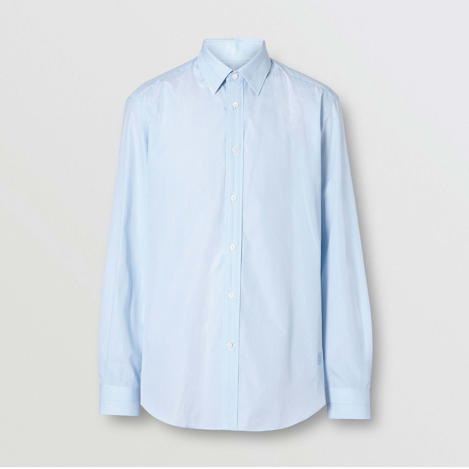 Classic Fit Striped Cotton Poplin Dress Shirt in Pale Blue - Men | Burberry - gallery image 3