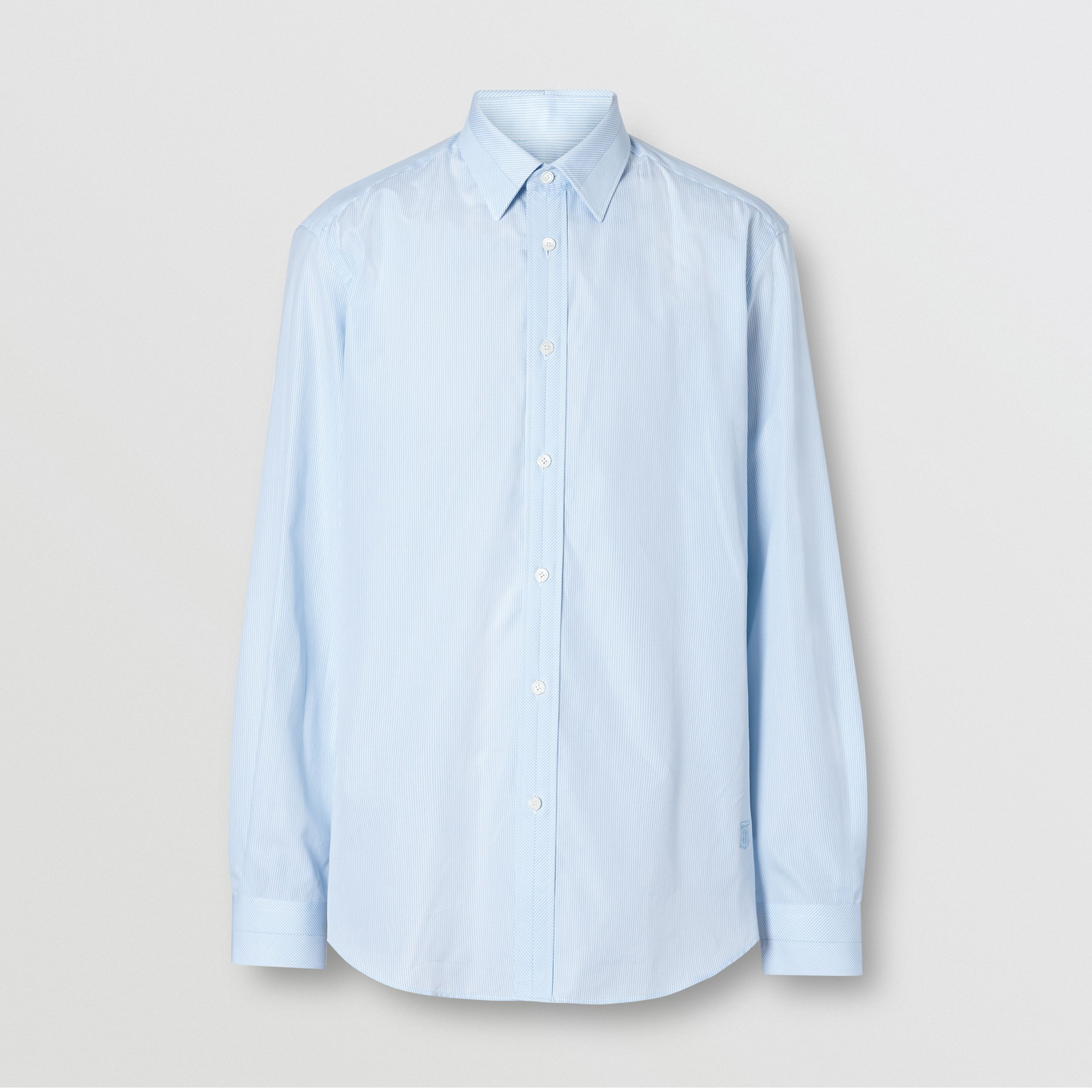 Classic Fit Striped Cotton Poplin Dress Shirt in Pale Blue | Burberry - 4