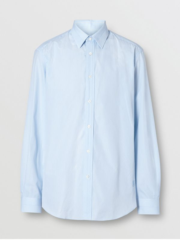 Classic Fit Striped Cotton Poplin Dress Shirt in Pale Blue - Men | Burberry - cell image 3