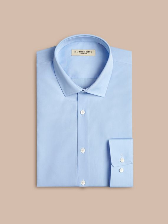 Modern Fit Cotton Poplin Shirt in City Blue - Men | Burberry Canada