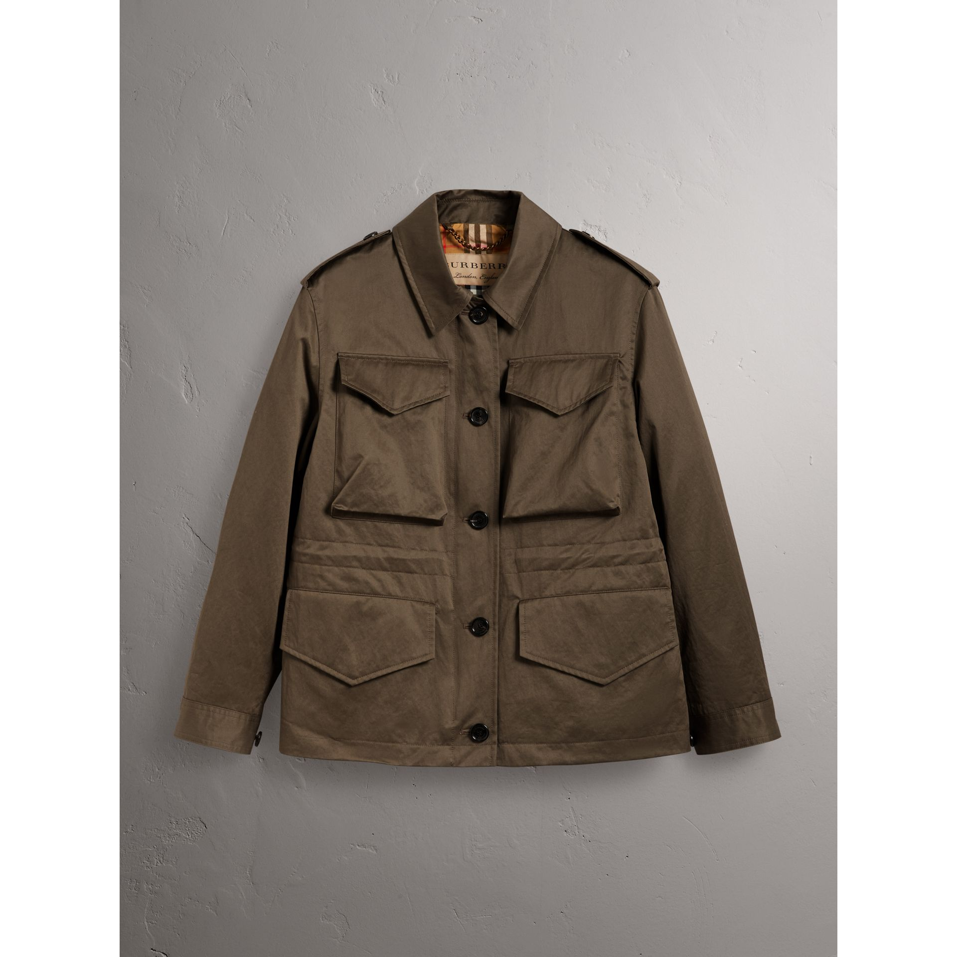 Showerproof Field Jacket in Dark Olive - Women | Burberry - gallery image 3