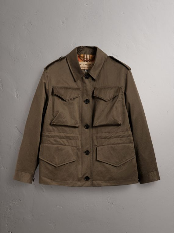 Showerproof Field Jacket in Dark Olive - Women | Burberry - cell image 3