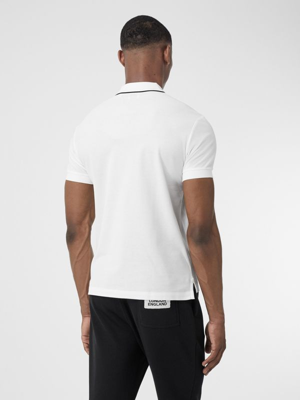 Logo Graphic Cotton Piqué Polo Shirt in White - Men | Burberry - cell image 2