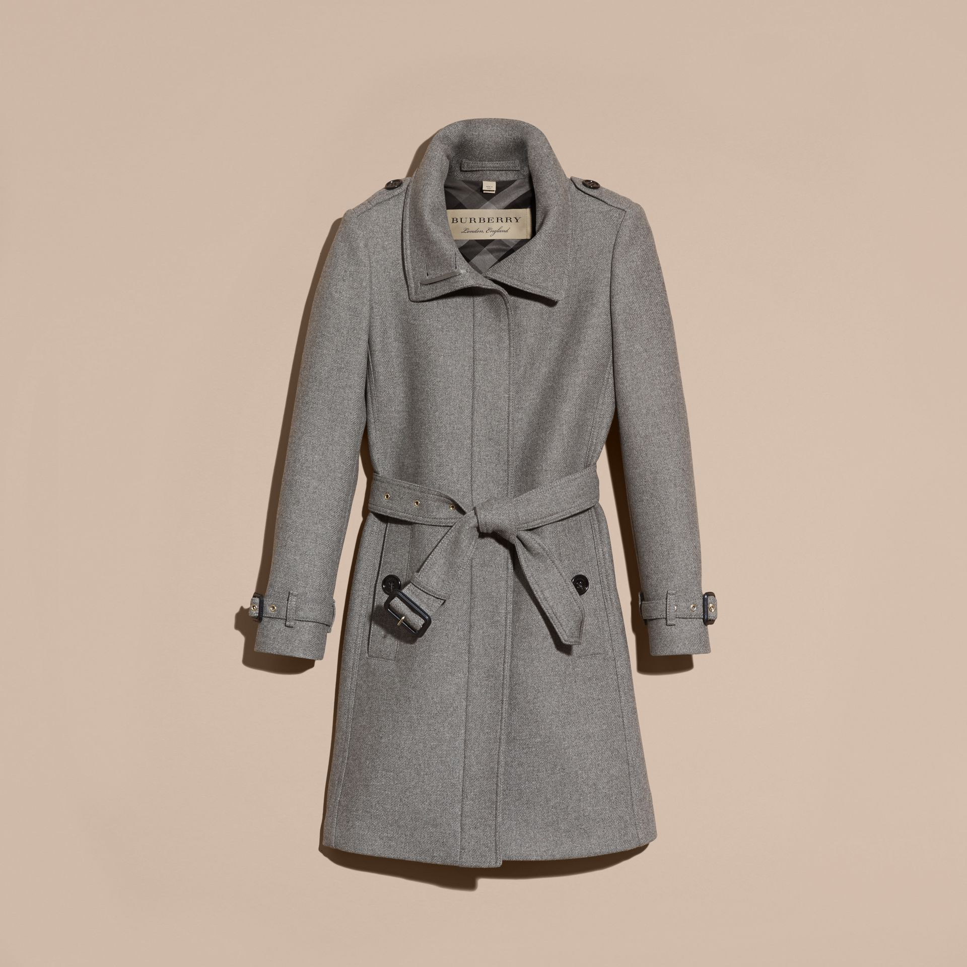 Technical Wool Cashmere Funnel Neck Coat in Steel Grey Melange - gallery image 4