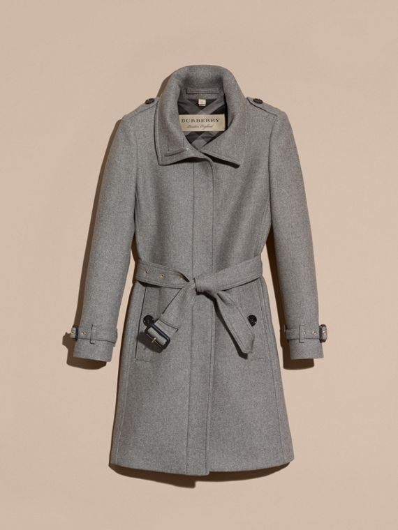 Technical Wool Cashmere Funnel Neck Coat in Steel Grey Melange - Women | Burberry - cell image 3