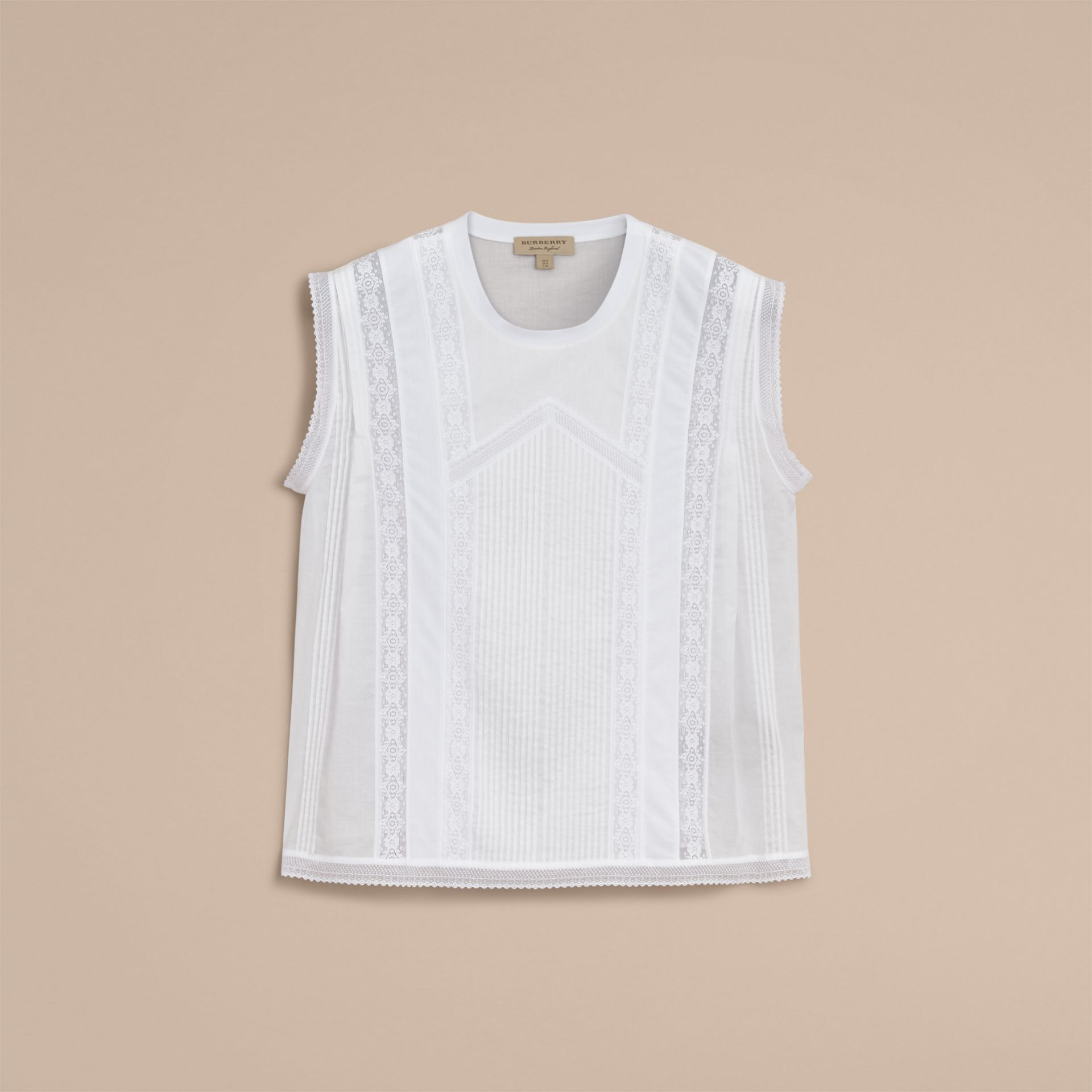 Sleeveless Lace and Pintuck Detail Cotton Top - Women | Burberry - gallery image 4