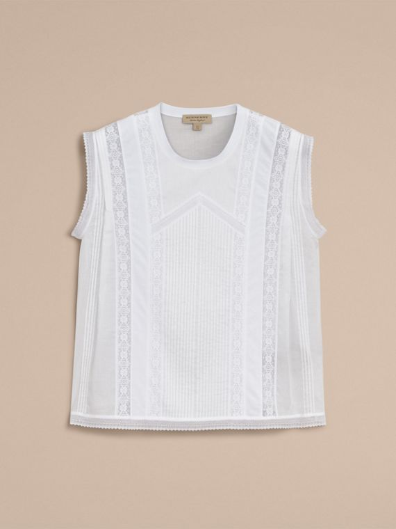 Sleeveless Lace and Pintuck Detail Cotton Top - Women | Burberry - cell image 3