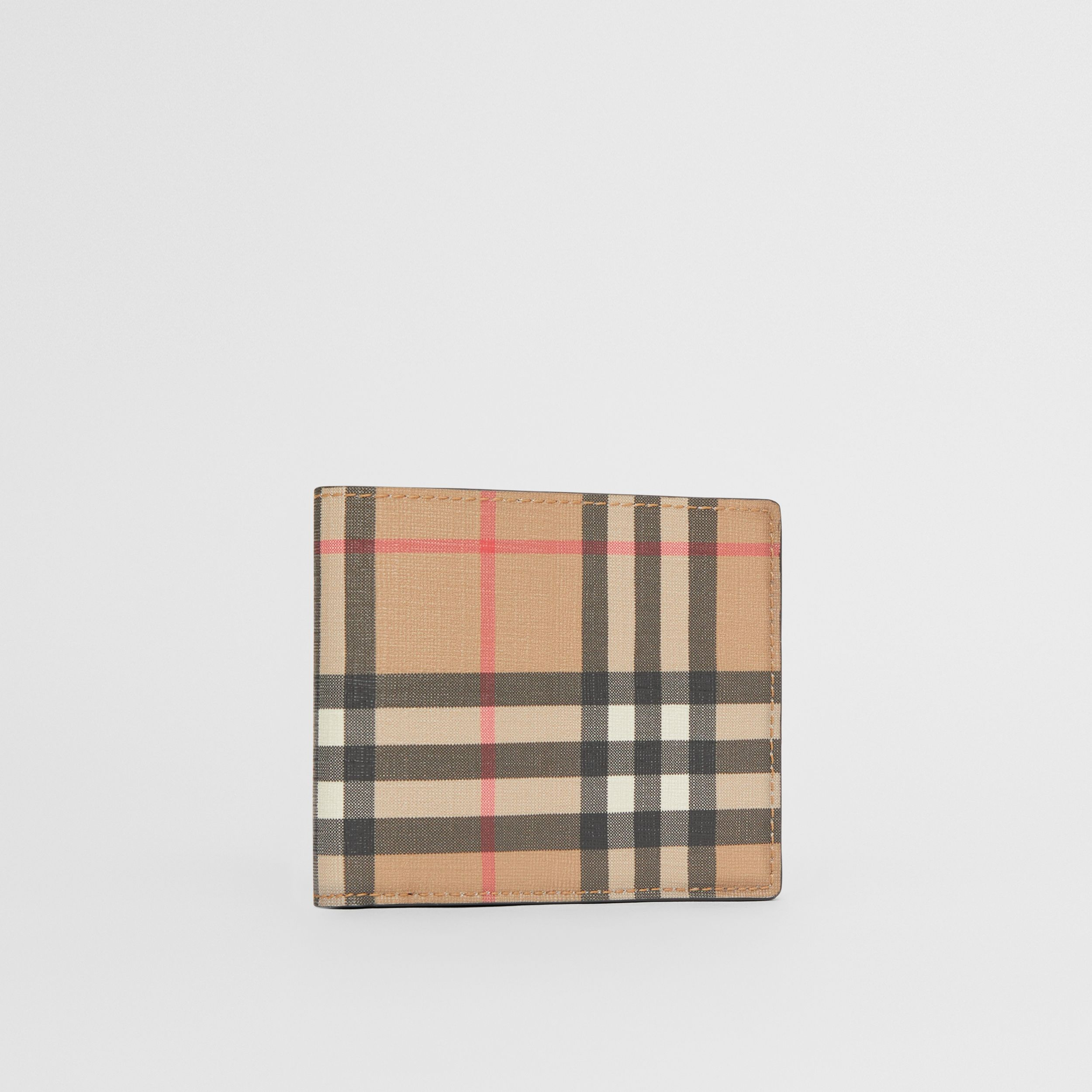 Vintage Check E-canvas International Bifold Wallet in Archive Beige - Men | Burberry - 4