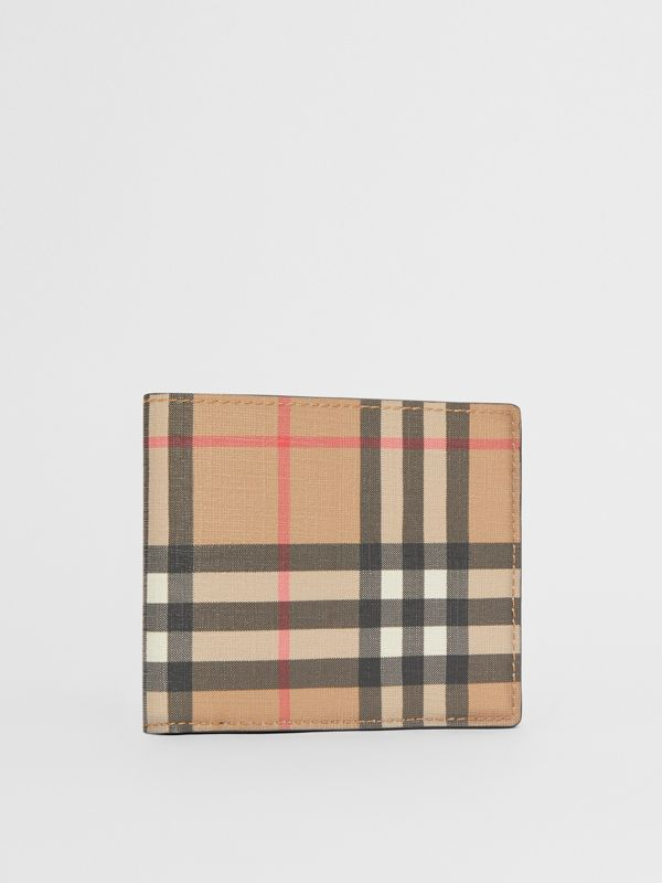 Vintage Check E-canvas International Bifold Wallet in Archive Beige - Men | Burberry United Kingdom - cell image 3