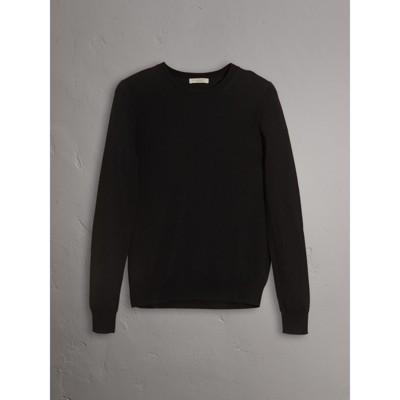 Check Detail Merino Wool Crew Neck Sweater in Black - Women ...