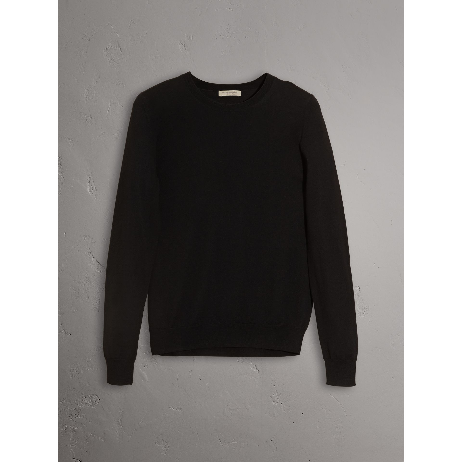 Check Detail Merino Wool Crew Neck Sweater in Black - Women | Burberry United States - gallery image 3
