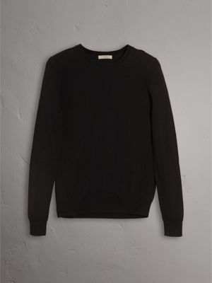 Check Detail Merino Wool Crew Neck Sweater in Black - Women ...