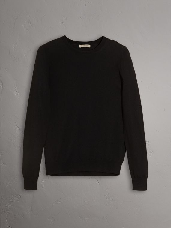 Check Detail Merino Wool Crew Neck Sweater in Black - Women | Burberry United States - cell image 3