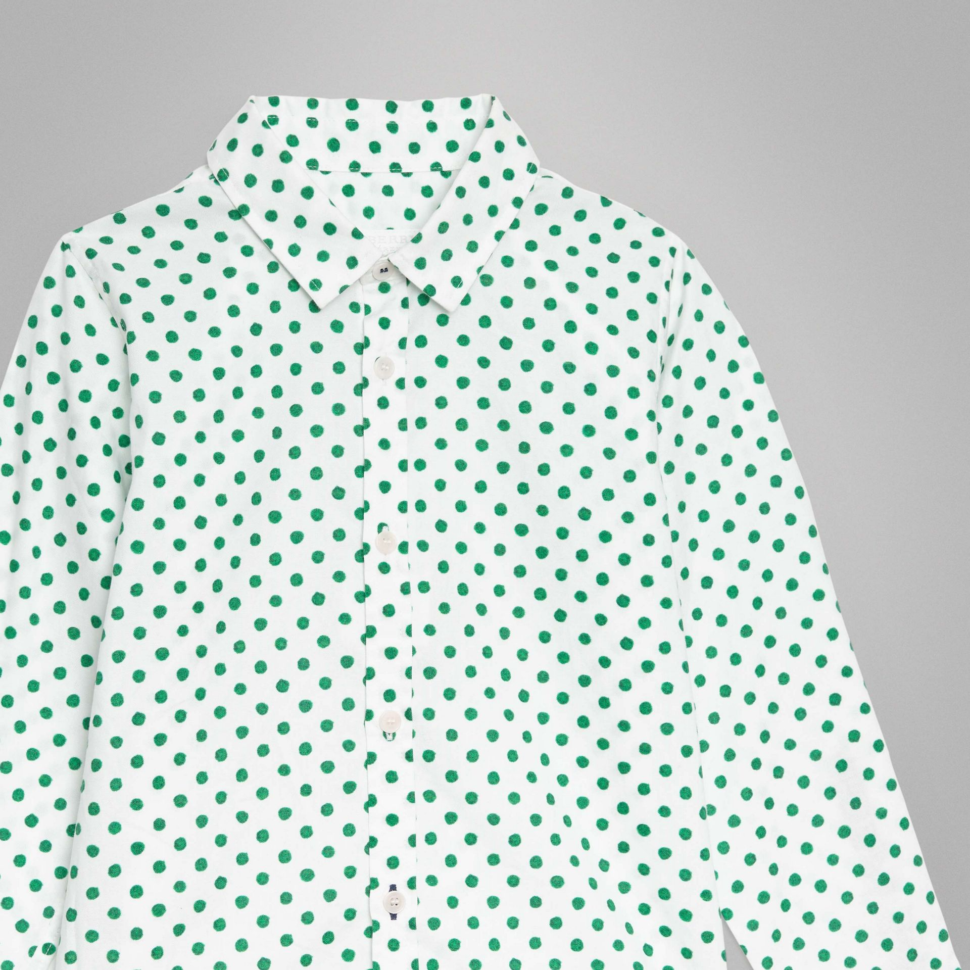 Polka Dot Cotton Oxford Shirt in Emerald Green | Burberry - gallery image 4
