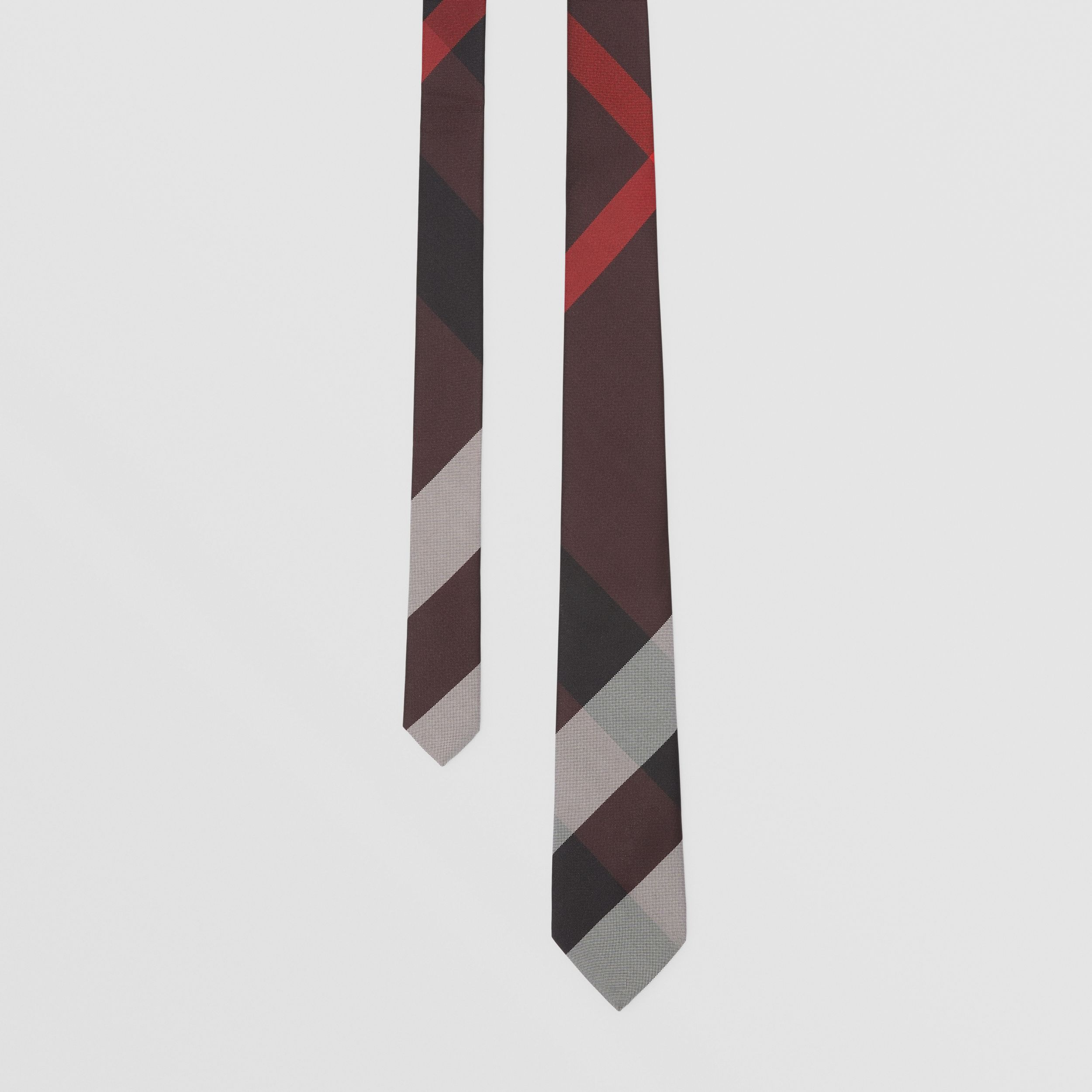 Classic Cut Check Silk Jacquard Tie in Deep Merlot - Men | Burberry - 1