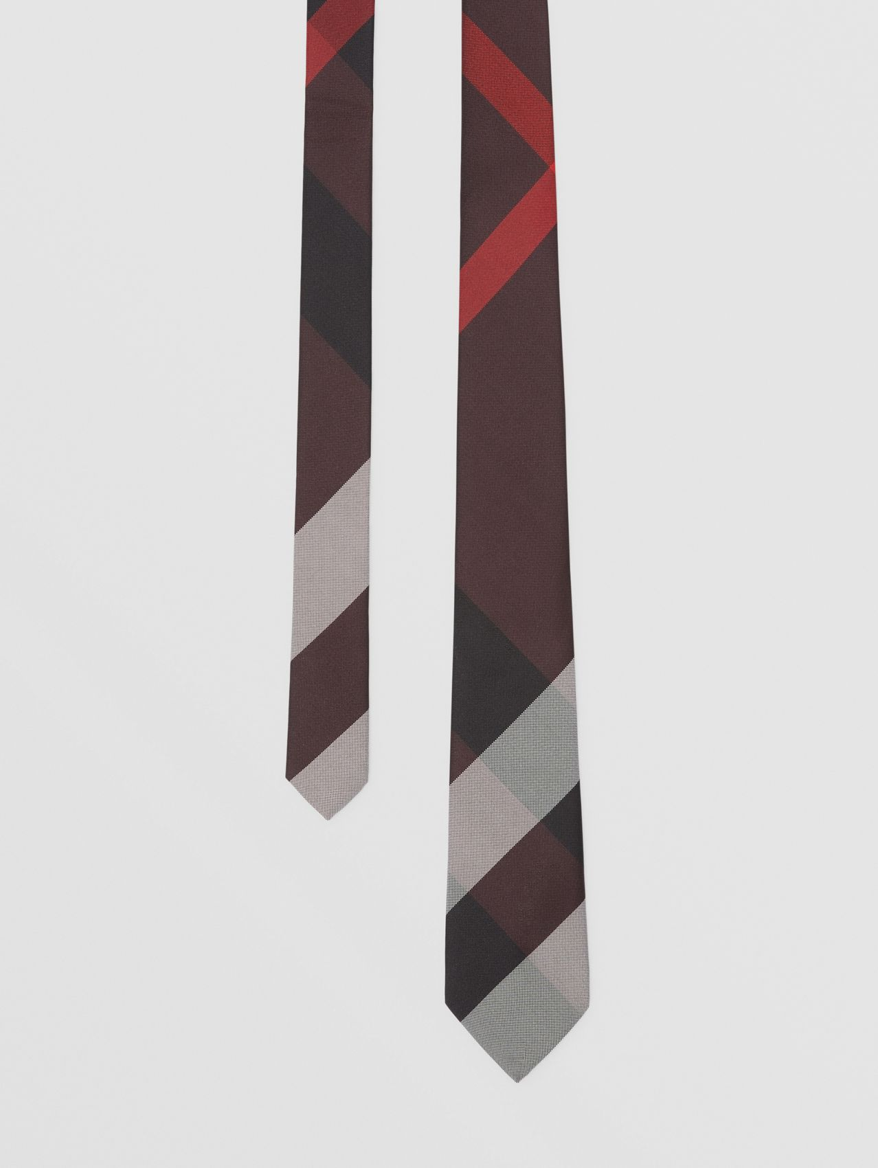 Classic Cut Check Silk Jacquard Tie in Deep Merlot