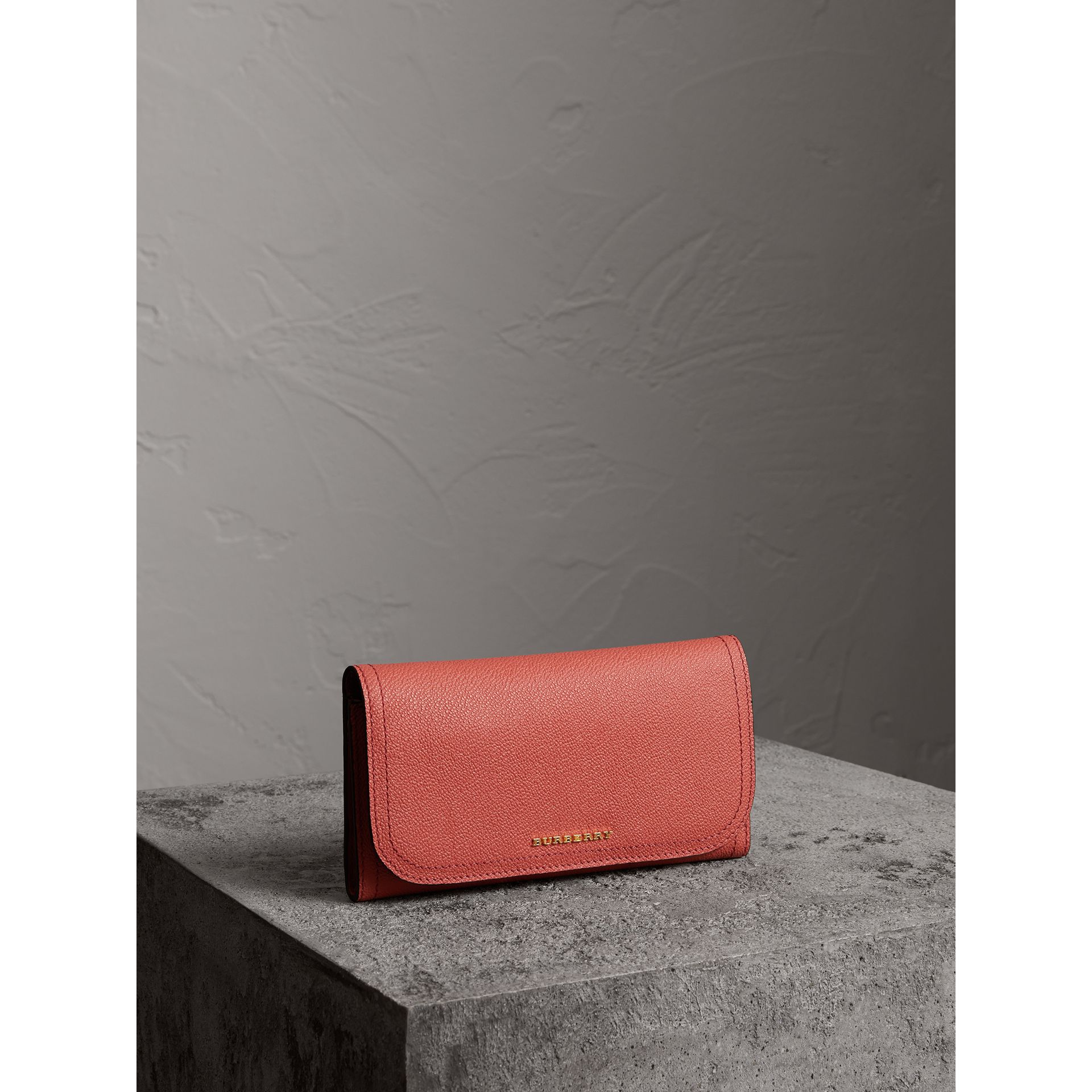 Two-tone Leather Continental Wallet and Coin Case in Cinnamon Red/multi - Women | Burberry - gallery image 0