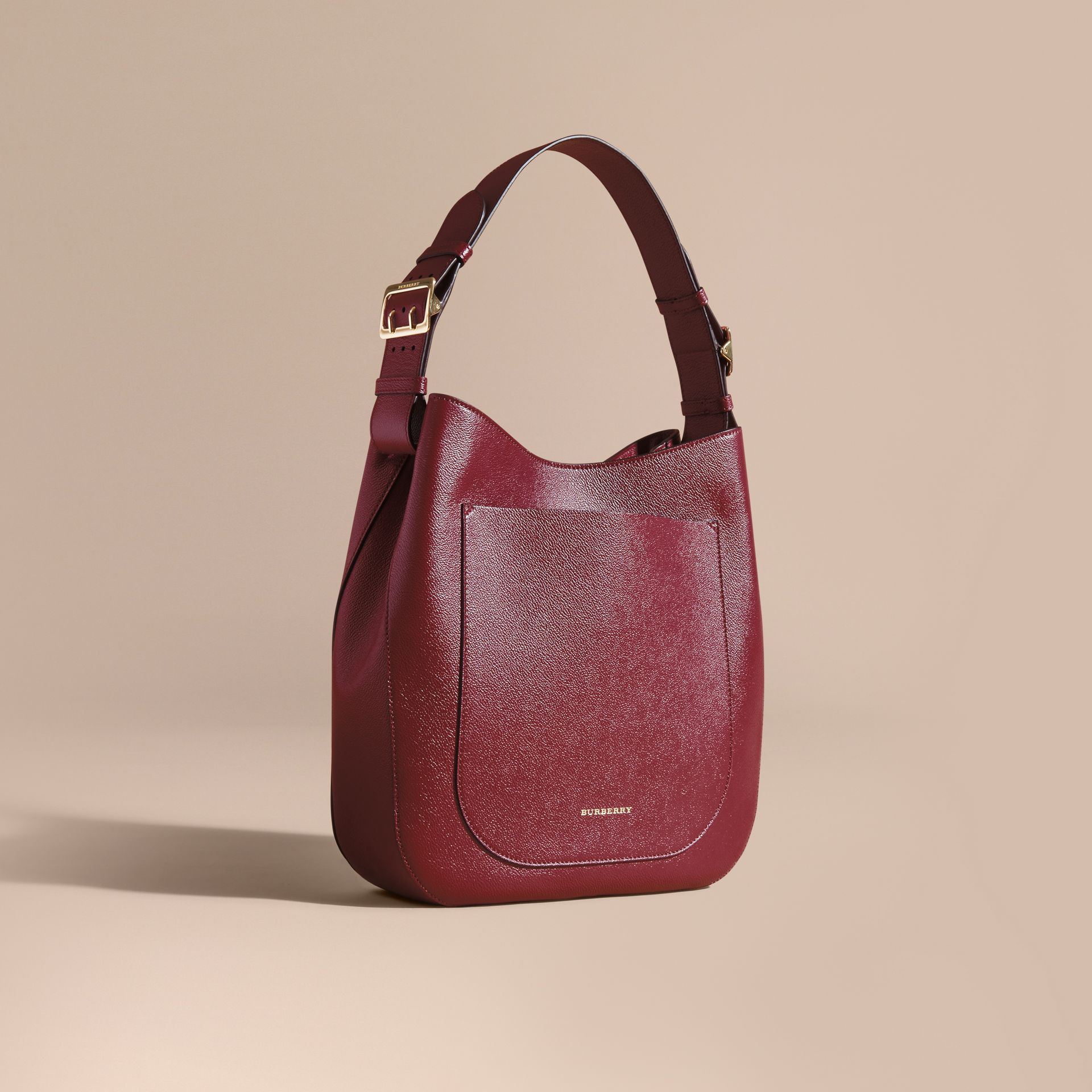 Textured Leather Shoulder Bag in Dark Plum - gallery image 1