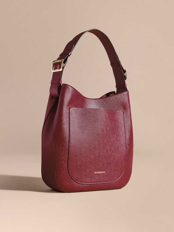 Textured Leather Shoulder Bag Dark Plum