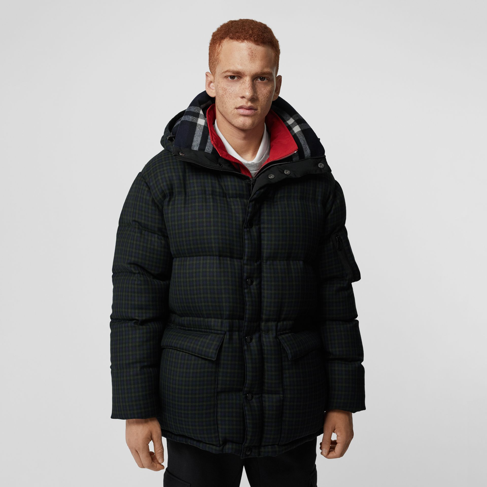 Check Wool Down-filled Hooded Jacket in Navy - Men | Burberry Australia - gallery image 4