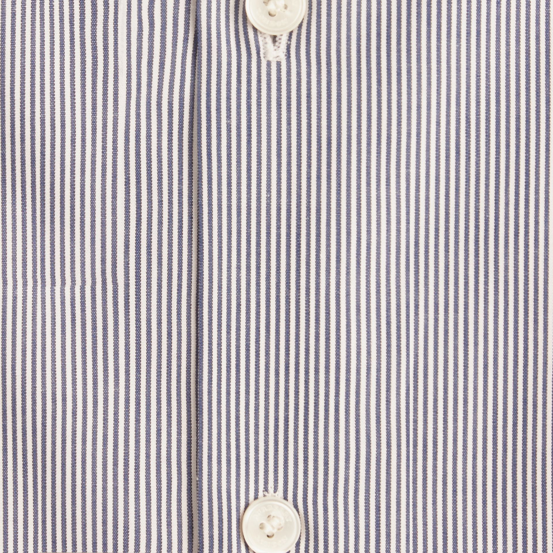 Slim Fit Striped Cotton Poplin Shirt in Dark Empire Blue - gallery image 2