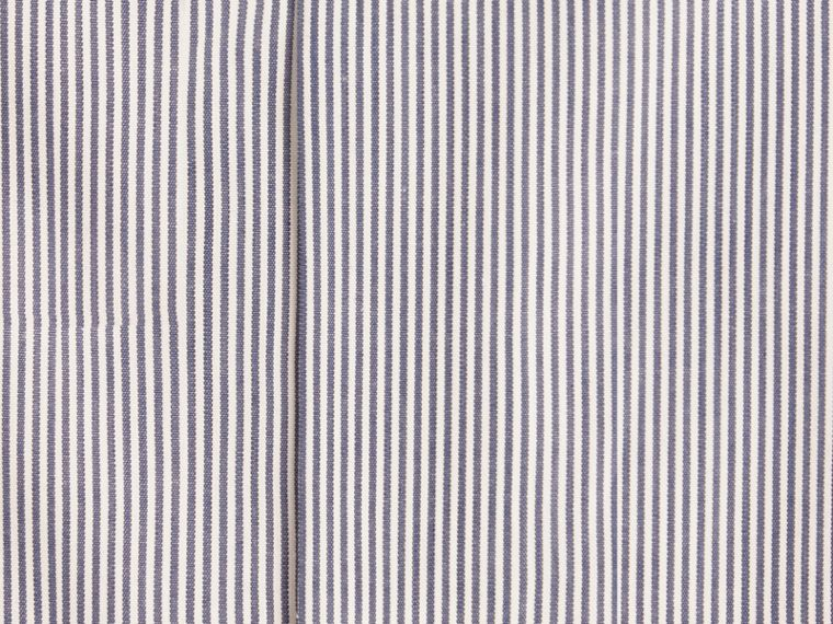 Slim Fit Striped Cotton Poplin Shirt in Dark Empire Blue - cell image 1