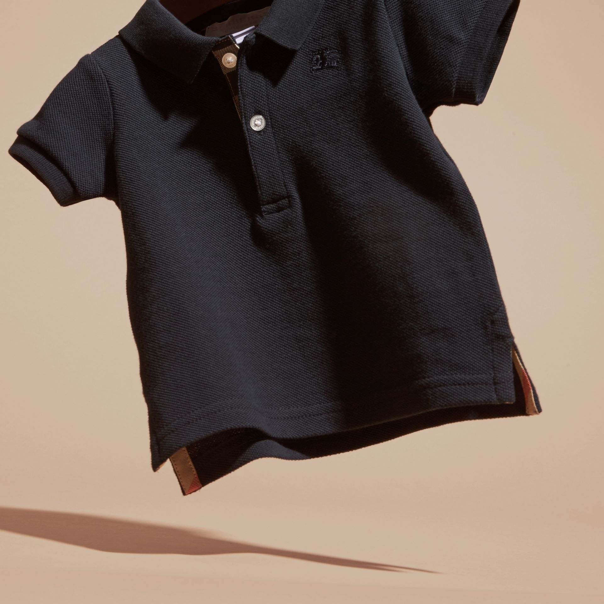 Cotton Piqué Polo Shirt in True Navy | Burberry Canada - gallery image 3