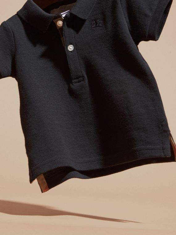 Cotton Piqué Polo Shirt in True Navy | Burberry Canada - cell image 2