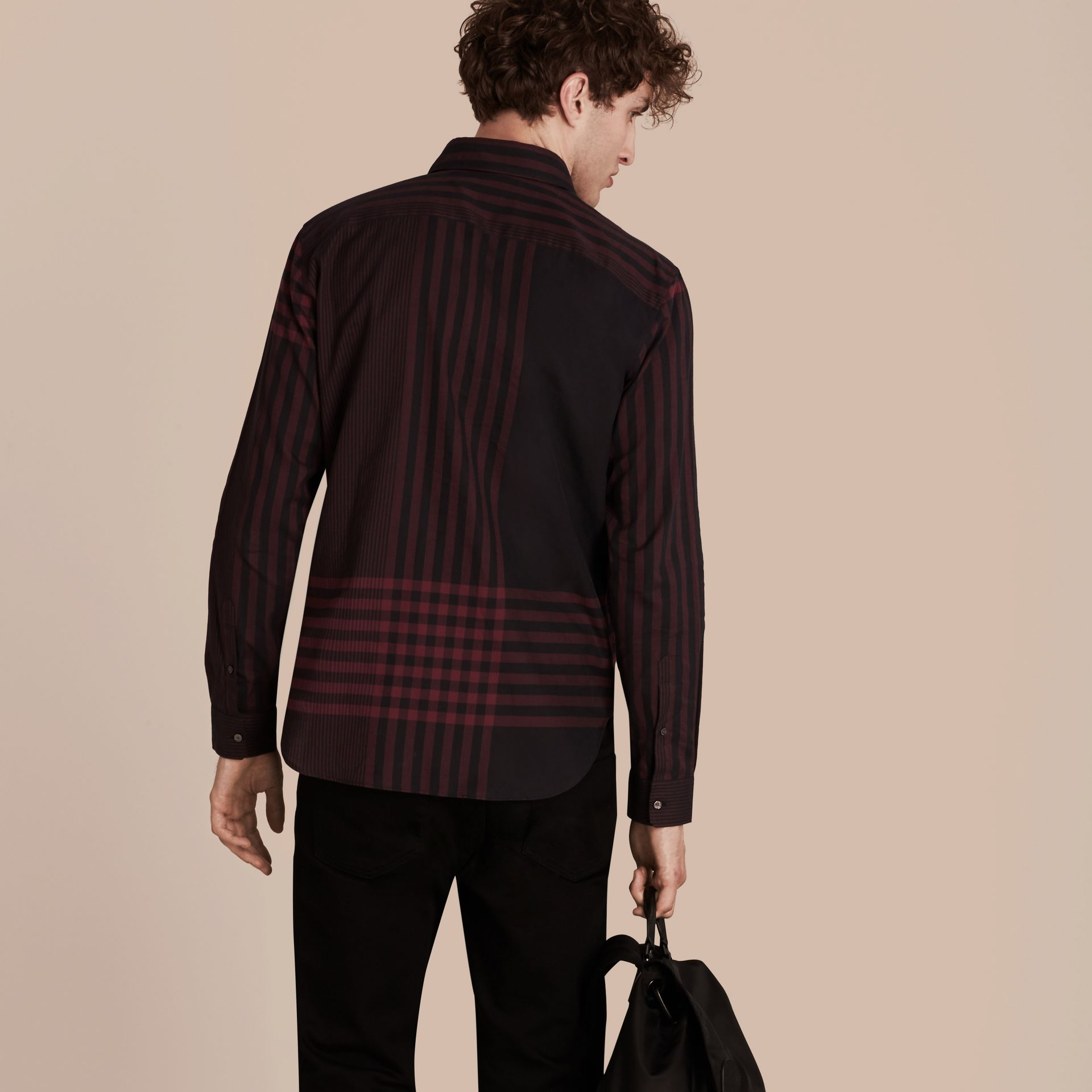 Burgundy red Graphic Check Cotton Shirt Burgundy Red - gallery image 3