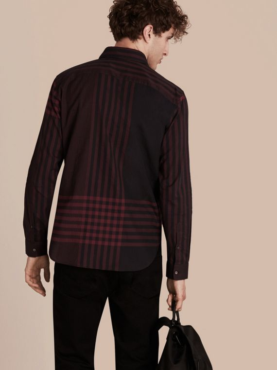 Burgundy red Graphic Check Cotton Shirt Burgundy Red - cell image 2