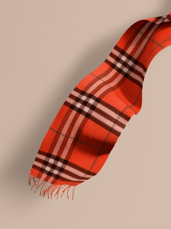 The Classic Cashmere Scarf in Check  Bright Orange Red