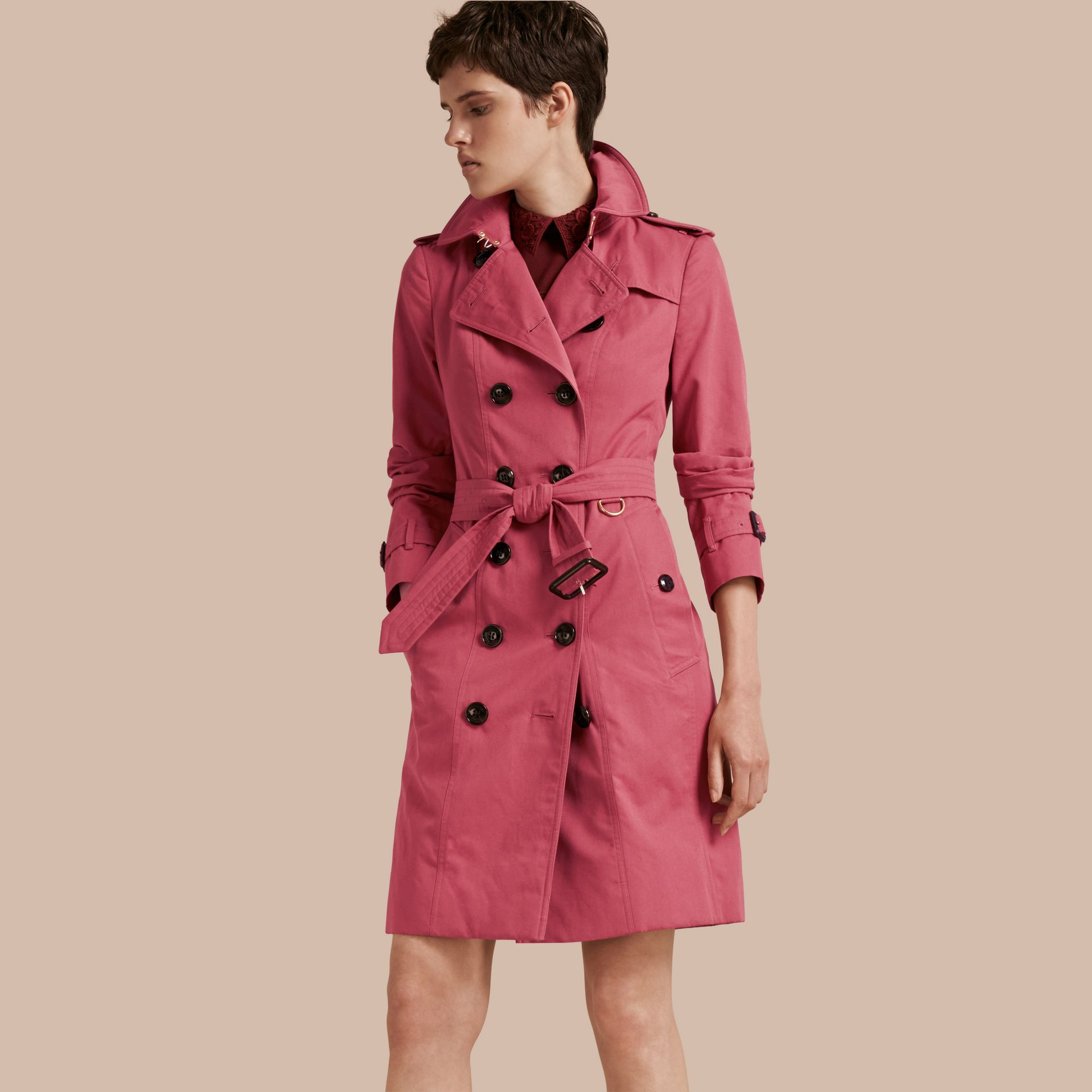 Bright copper pink Cotton Gabardine Trench Coat - gallery image 1