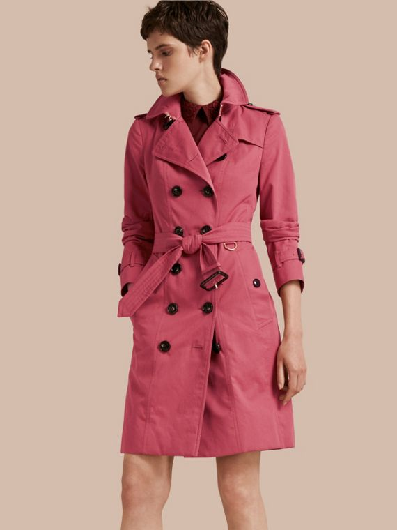 Cotton Gabardine Trench Coat Bright Copper Pink