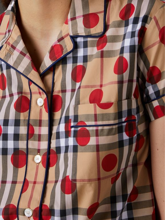 Short-sleeve Spot Print Check Cotton Shirt in Parade Red - Women | Burberry - cell image 1