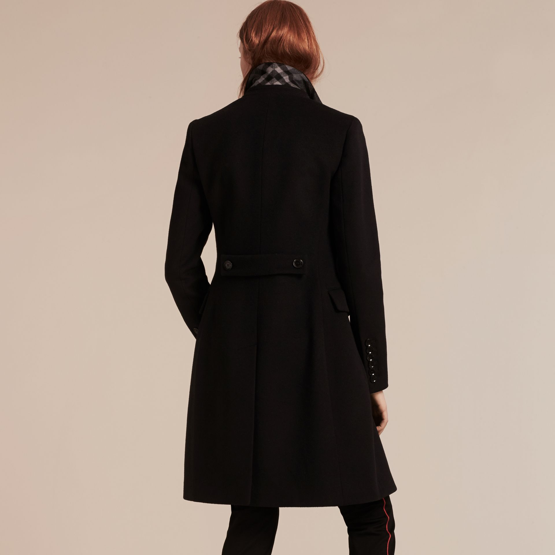 Wool Cashmere Tailored Coat in Black - gallery image 3