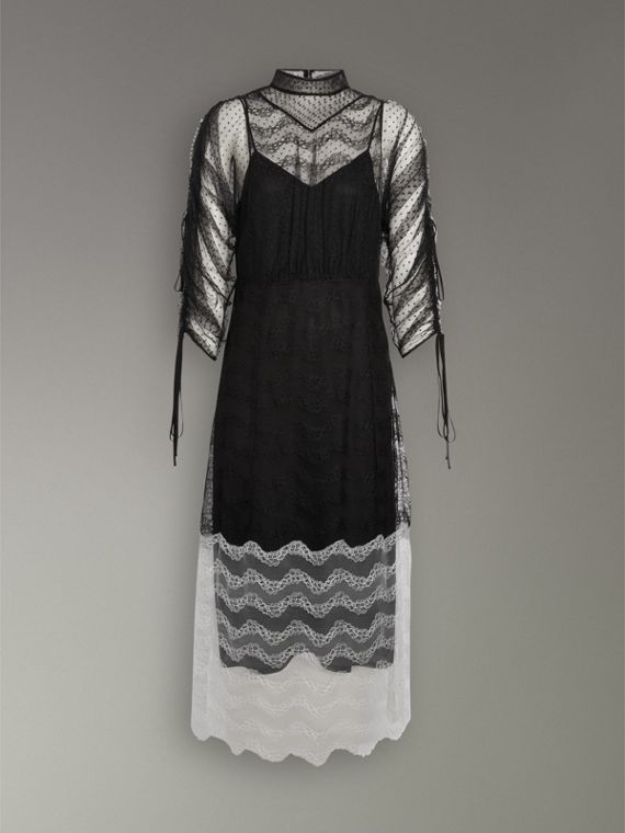Gathered-sleeve Geometric Lace Dress in Black - Women | Burberry Canada - cell image 3