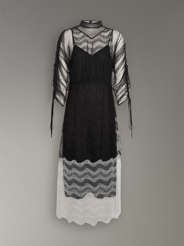 Gathered-sleeve Geometric Lace Dress in Black - Women | Burberry Hong Kong - cell image 3
