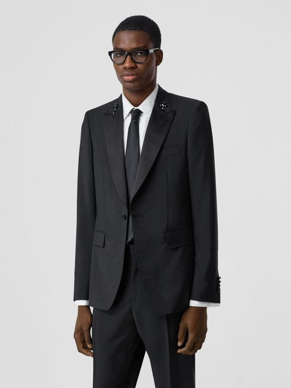 English Fit Embellished Mohair Wool Tuxedo Jacket in Black