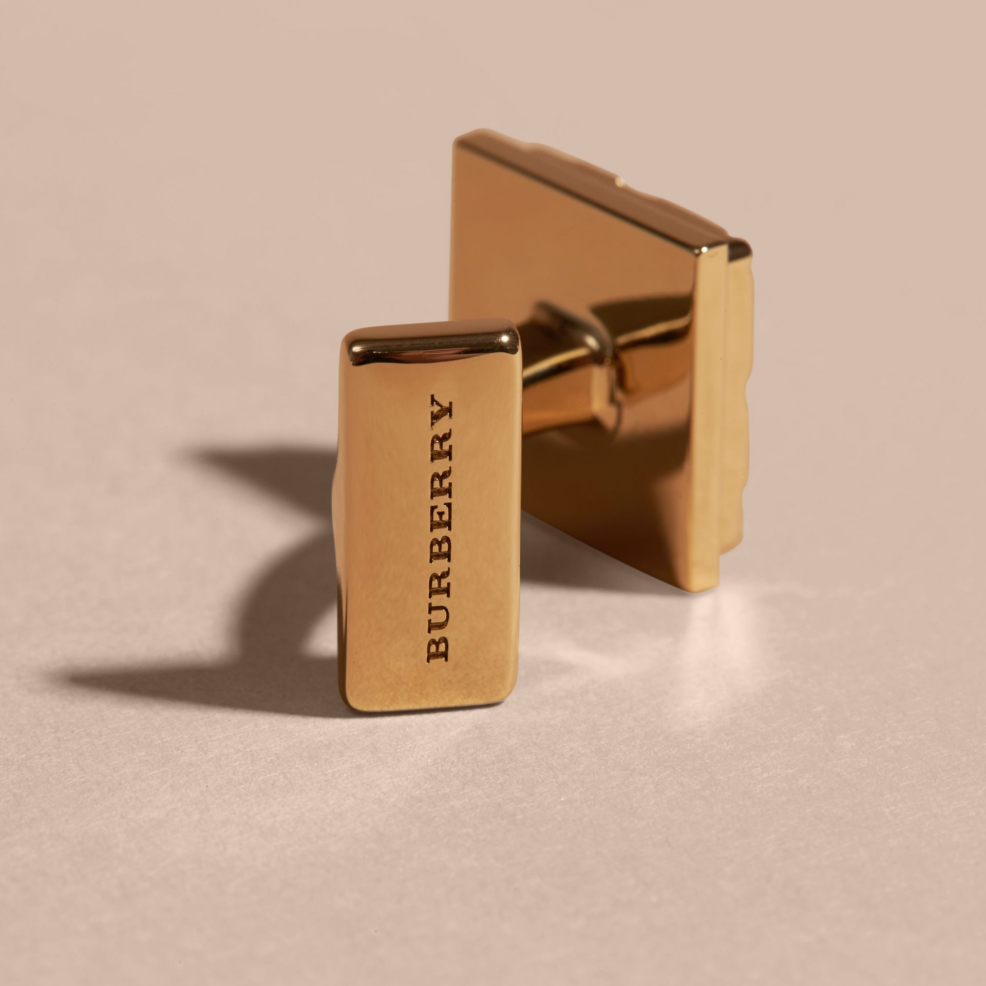 Check-engraved Square Cufflinks in Pale Gold - gallery image 3