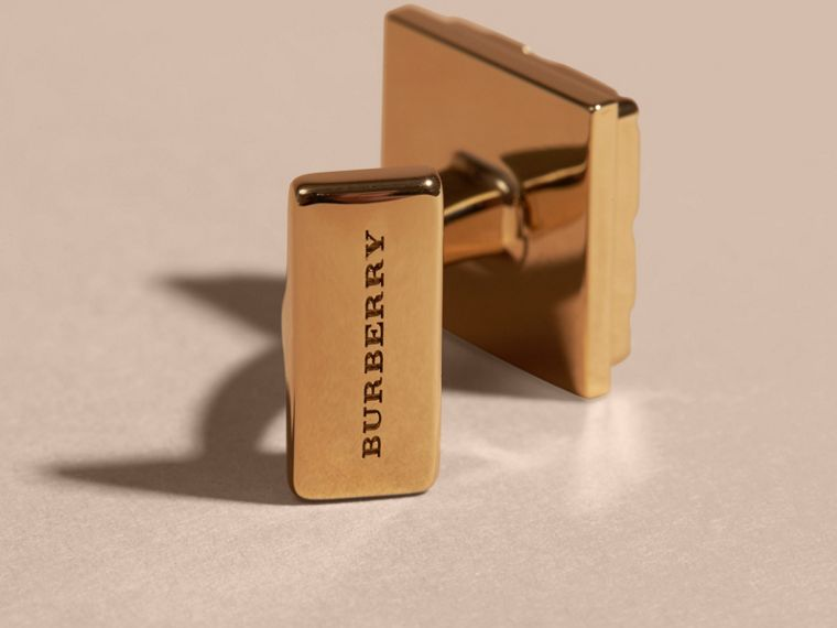 Check-engraved Square Cufflinks in Pale Gold - Men | Burberry Canada - cell image 2