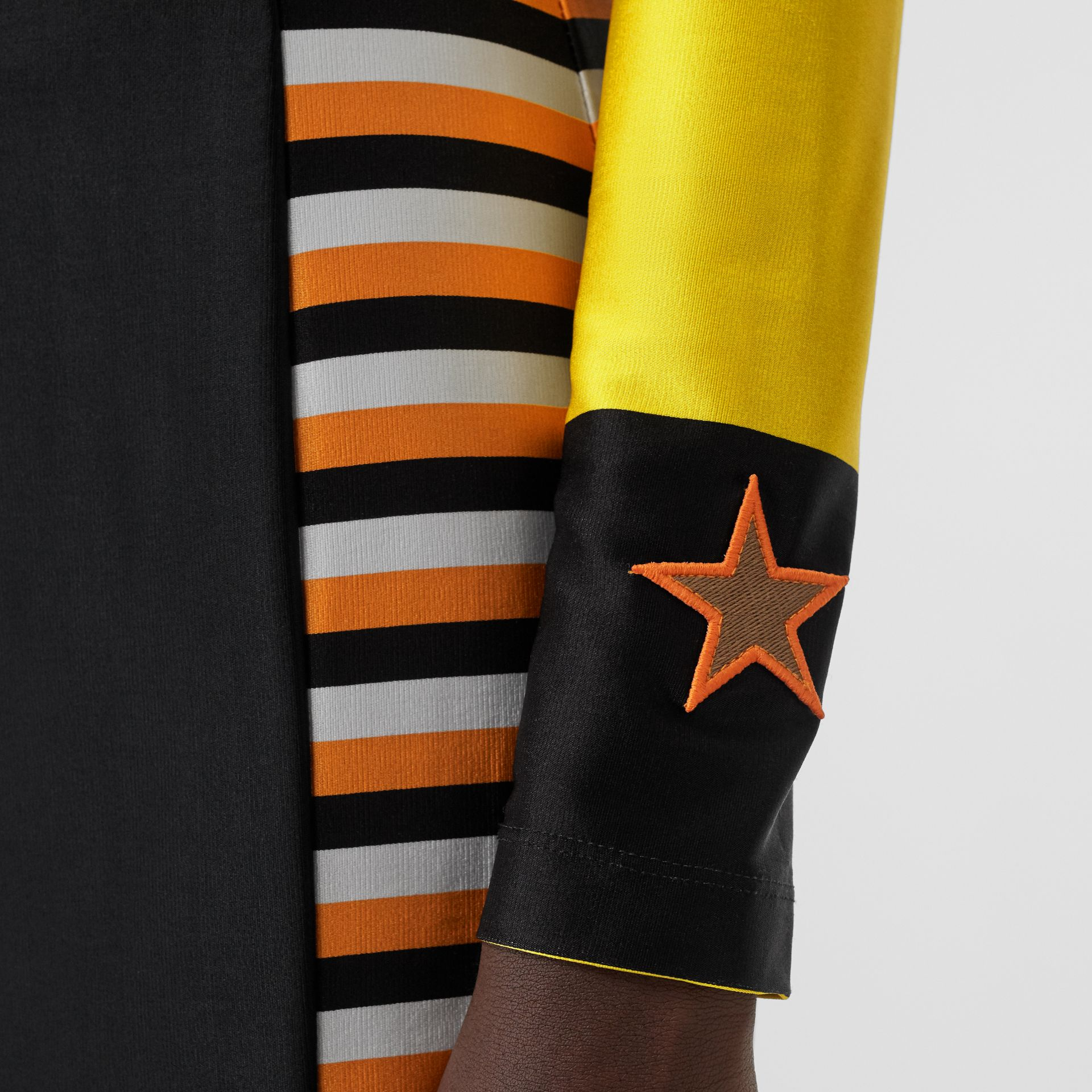 Flag Appliqué Striped Stretch Jersey Mini Dress in Black - Women | Burberry - gallery image 3