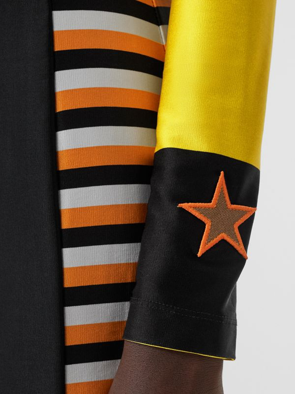 Flag Appliqué Striped Stretch Jersey Mini Dress in Black - Women | Burberry - cell image 3
