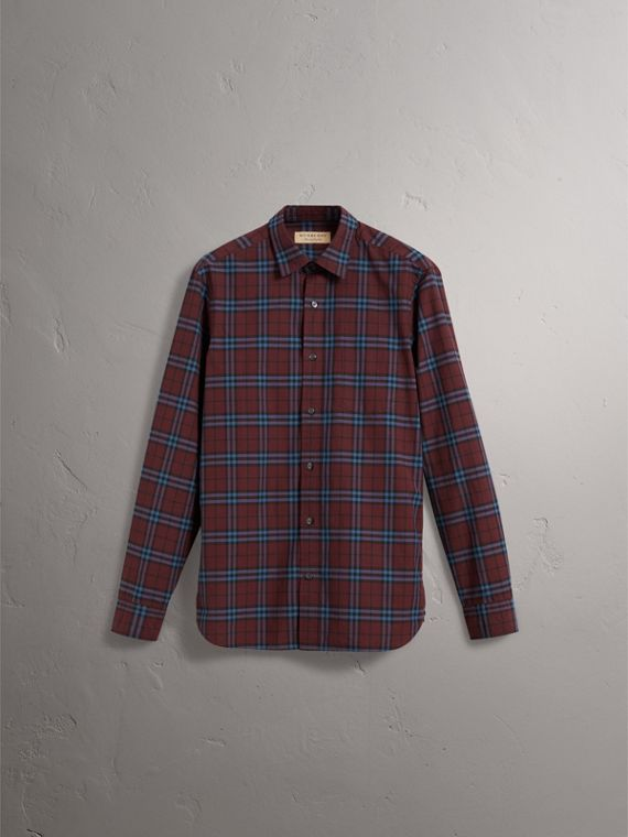 Check Cotton Shirt in Crimson Red - Men | Burberry - cell image 3